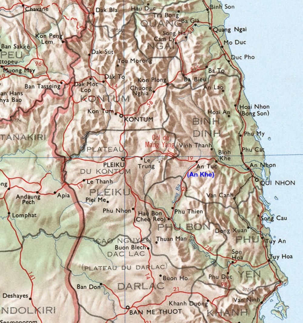 Viet Map 14 Vietnam War An Khe Hon Cong Mountain