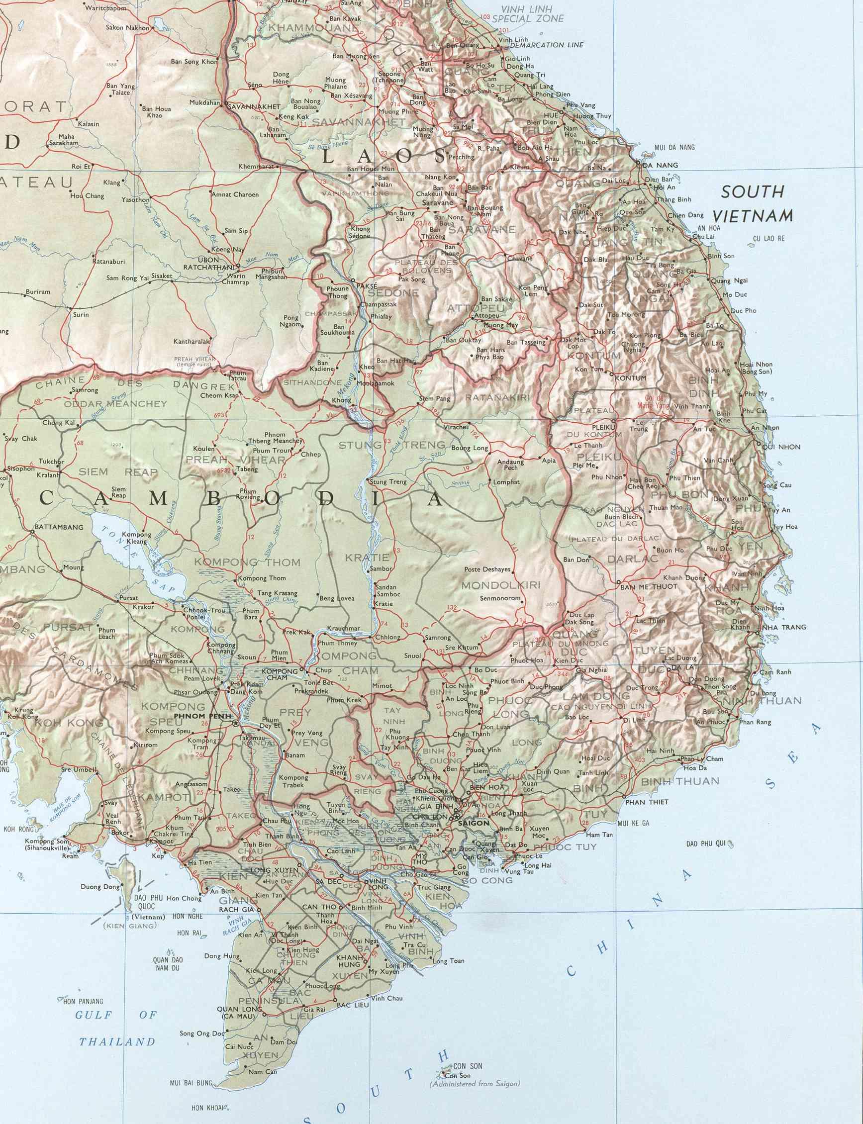 Viet map 1 vietnam war an khe hon cong mountain general indochina map south vietnam gumiabroncs Gallery